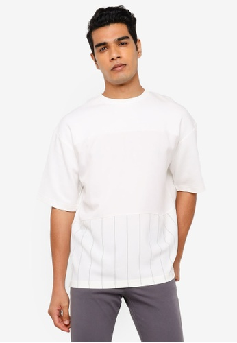 RAGEBLUE white Knit Stripe T-Shirt BD53AAAFE22891GS_1