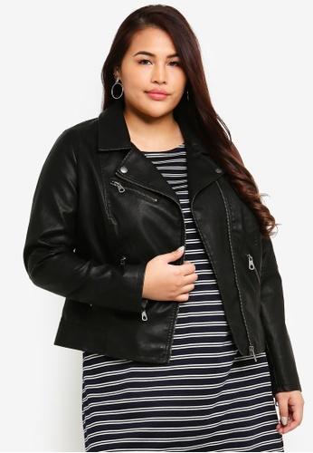 Only CARMAKOMA black Plus Size Hope Pu Biker Jacket 926A4AAA0B9310GS_1
