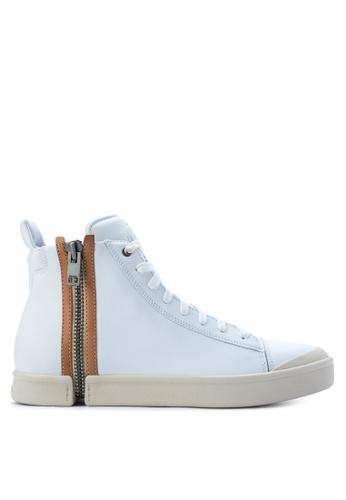 Diesel white Zip Round Nentish Sneakers DI095SH0K3TRPH_1
