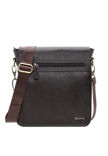SEMBONIA black SEMBONIA Genuine Leather Messenger Bag SE598AC68GZFMY_1