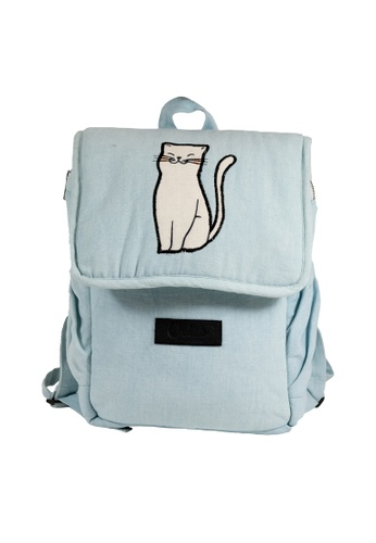 Oxhide 藍色 儿童和青少年小背包-蓝色帆布背包-小猫背包-KL04 1D95AACFF953DFGS_1
