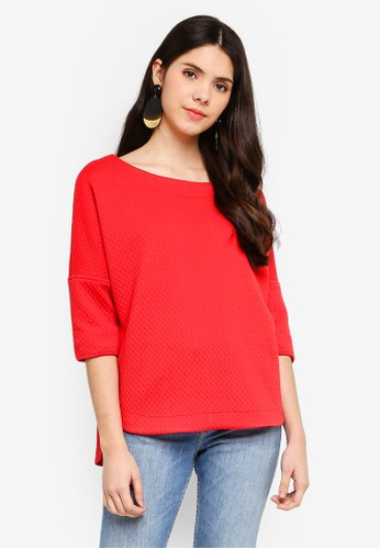Max Studio red Textured Ponte Dolman Sleeve Top 81404AAB56385FGS_1