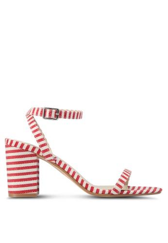 Velvet red Striped Block Heels FE28CSHD2295ECGS_1