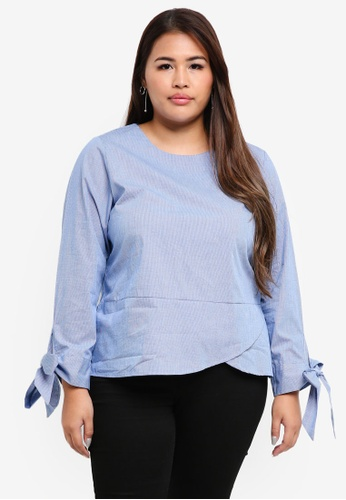 peace collections blue Plus Size Blouse 28674AAC7AF6A7GS_1