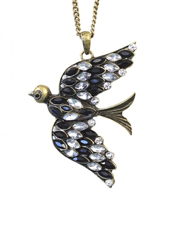 LOVENGIFTS black and white and gold LOVENGIFTS Rhinestone Bird Pendant Long Necklace LO429AC30ZFXMY_1