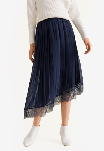 Mango blue and navy Lace Pleated Skirt 7347FAA625EA7CGS_1