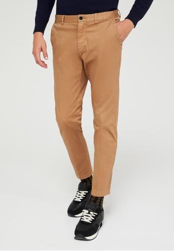 Sisley brown Cropped slim fit chinos 19161AA2B9F0E5GS_1