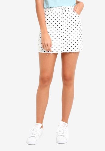 TOPSHOP white Polka Dot High Waisted Skirt DD05FAAEF16F93GS_1