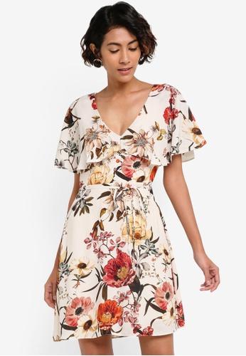 River Island beige Floral Tea Dress RI009AA53AOKMY_1