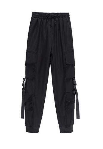 Zafiti black Women's Drawstring Waist Ankles-tied Cargo Pant - Black D8185AA8525EA5GS_1