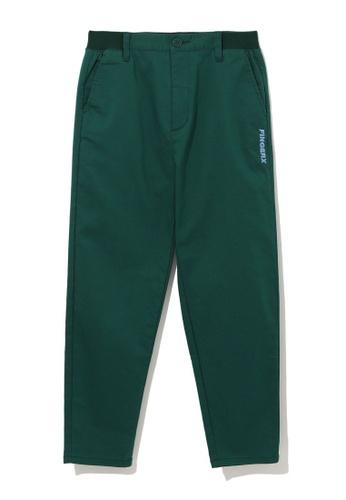 Fingercroxx green Logo embroidered pants 2DD62AA7308E0FGS_1