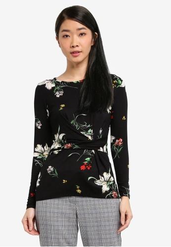Dorothy Perkins black Black Floral Twist Front Top B4942AA4D4E015GS_1