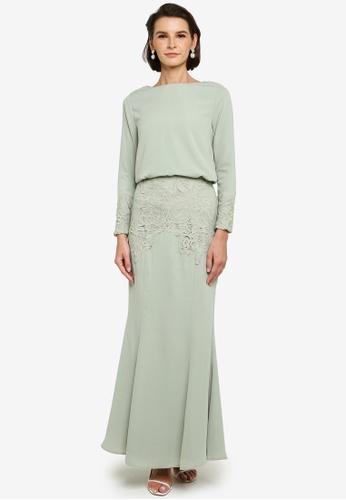 Zalia green Lace Trim Top With Skirt Set B4305AAF01A3A8GS_1