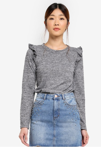 ONLY grey ONLY ONE Frill Knitted Pullover ON573AA0RRJBMY_1