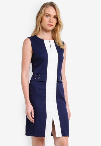 ZALORA white and navy Colourblocked Pencil Dress EE2FAZZFB21944GS_1