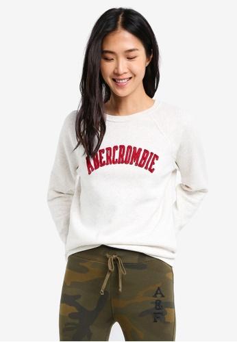Abercrombie & Fitch beige Velvet Logo Crew Sweatshirt AB423AA0SK9YMY_1