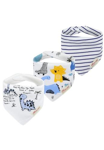 Little Kooma white Baby Boy Dinosaur Stripes Dribbler Bibs 3 Pack 85EC8KC93DAC56GS_1