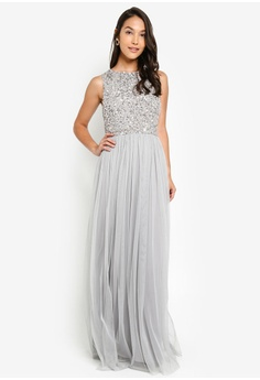 58630bcfd092 Angeleye grey Sleeveless Beaded Maxi Dress B4ED3AA83FCD39GS_1