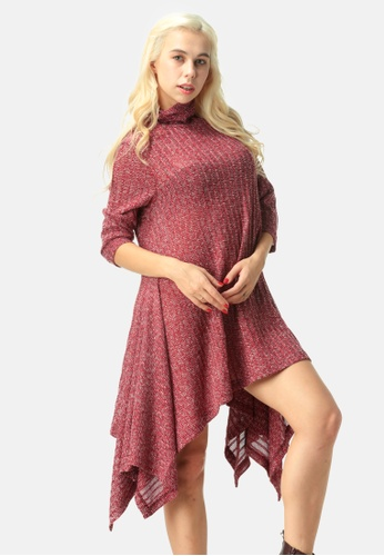London Rag red Long Sleeve Irregular Hem Sweater Dress 38EB2AAC06EBF3GS_1