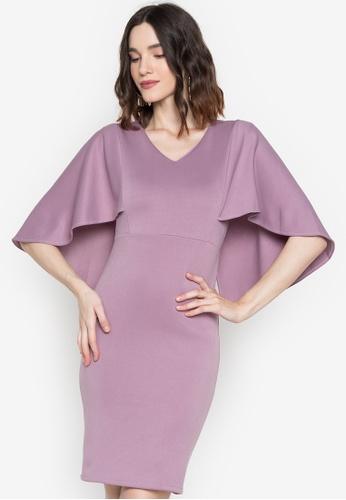 Hug purple Callie Cape Back Dress F472FAA63706A6GS_1