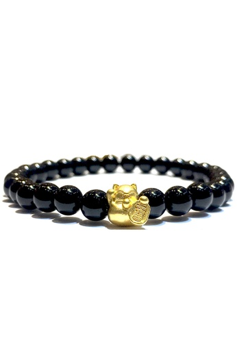 LITZ black and gold [SPECIAL] LITZ 999 (24K) Gold Lucky Cat Charm with free Black Agate Bracelet 19FD0ACB2912C3GS_1