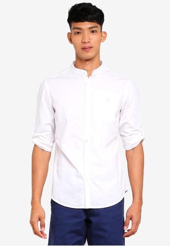 OVS white Mandarin Collar Shirt E6DA3AA0211897GS_1