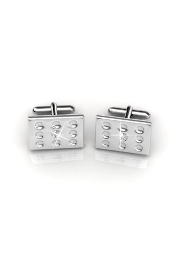 Her Jewellery silver Swarovski® Crystals - Mr Glossy 1 Cufflinks (18K White Gold Plated) Her Jewellery HE581AC0RBI3MY_1