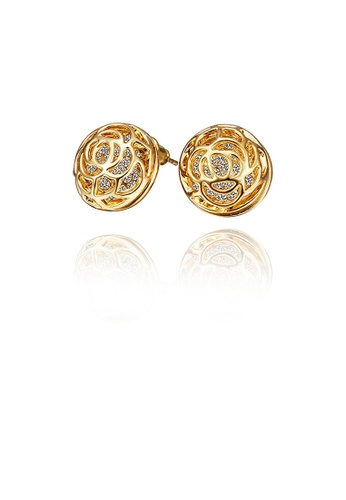 Glamorousky white Elegant Plated Gold Rose Stud Earrings with Austrian Element Crystal DF686ACE814A40GS_1