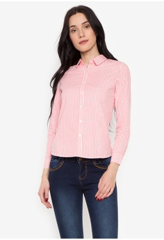 BNY pink Ladies Vertical Stripes Long Sleeve Woven Shirts D99CDAAD4529C7GS_1
