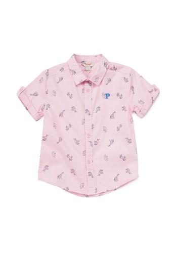 PONEY pink Poney Jarren Geometric Animal Print Cotton Poplin Short Sleeve Shirt 07194KA08FFE6FGS_1