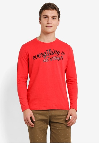 Marc & Giselle red Long Sleeve Graphic Tee MA188AA0S15CMY_1