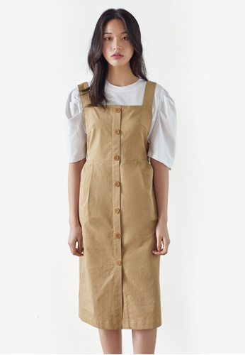 NAIN beige Button Down Pinafore Dress 89A99AA8C57CC5GS_1