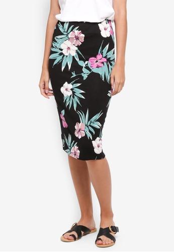 Dorothy Perkins black Black And Pink Floral Pencil Skirt C39F9AAF272D6CGS_1