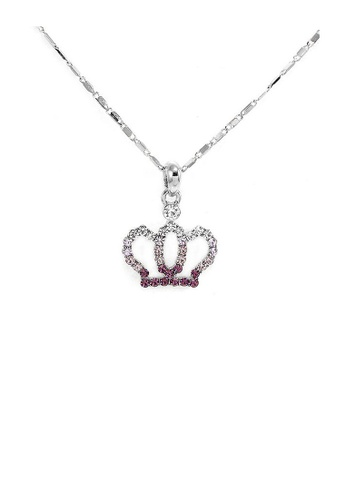 Glamorousky purple Glistering Crown Pendant with Purple and Silver Austrian Element Crystals and Necklace DBC98ACA437BA9GS_1