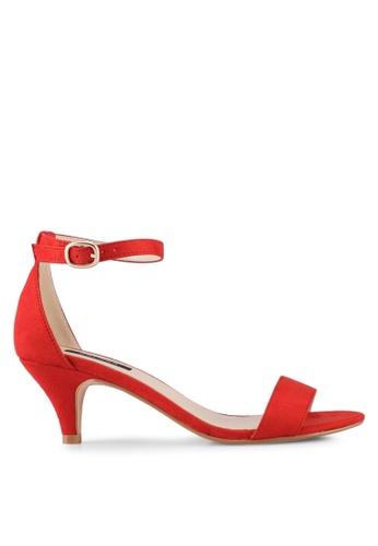 ZALORA red Eyelet Strap Low Heels 1FC2ESH5F4F323GS_1
