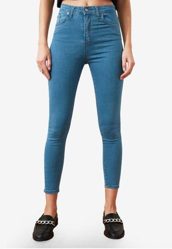 Trendyol 藍色 黑色 High 腰圍 緊身牛仔褲 006C7AA0DE8384GS_1