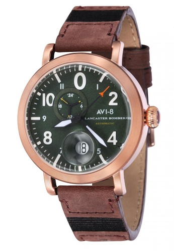 AVI-8 brown Lancaster Bomber Men's  Leather Strap Watch AV642AC50JWJPH_1