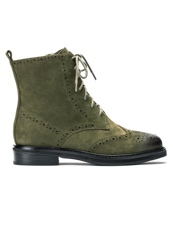 Byford green Breck Suede Brogue Leather Boots B11B1SH0004F60GS_1
