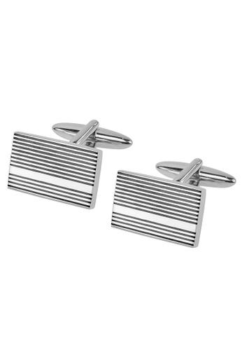 CUFF IT black Silver with Black Gunmetal Stripes Cufflinks CU047AC2UXSYHK_1