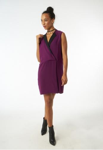 Auden Cavill 紫色 Auden Cavill Women V-neck Mini Dress With Pleated Skirt C57AFAAC941BB3GS_1