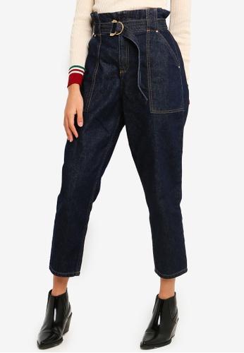 River Island blue Paperbag Waist Jeans 8EF5AAA6B63E70GS_1