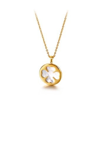 Glamorousky silver Fashion and Elegant Plated Gold Four-leaf Clover Geometric Round 316L Stainless Steel Pendant with Necklace 00E98ACF8B77B0GS_1