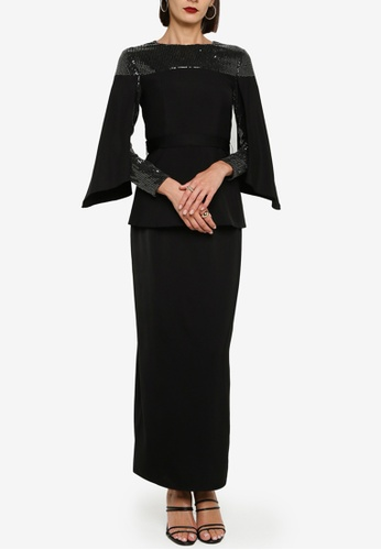 Zalia black Off Shoulder Lace Sequin Panel Kurung 91C54AA71E28FEGS_1