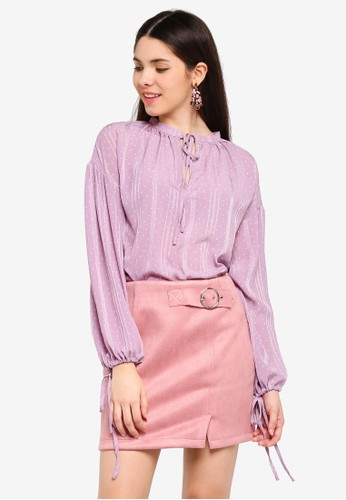 Glamorous purple Polka Dot Front and Sleeve Tie Top DA92AAA679EA1CGS_1