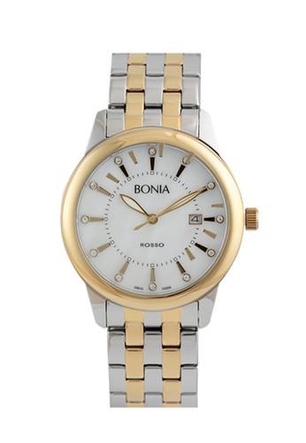Bonia - Jam Tangan Pria - B10099-1157 - Silver Gold White MOP