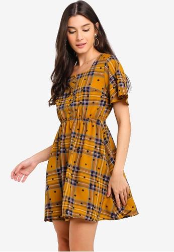 795172ff255f08 Shop ZALORA Button Down Square Neck Peplum Dress Online on ZALORA  Philippines