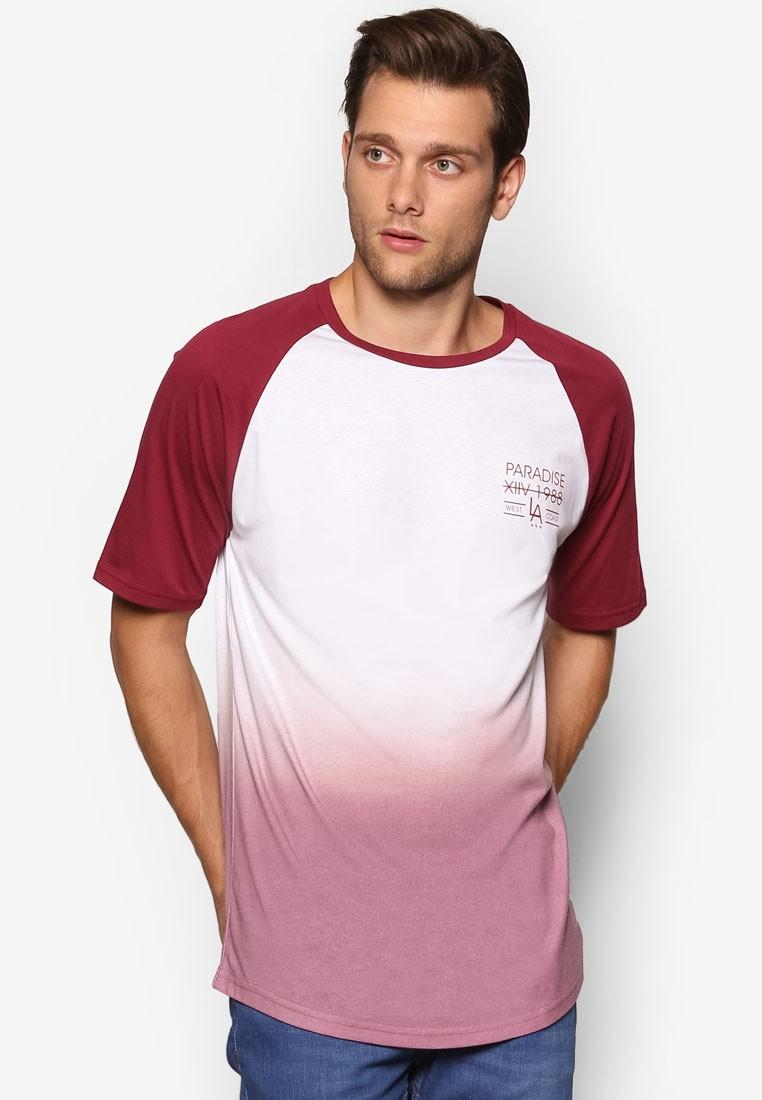 Dark Red Faded Print T-Shirt