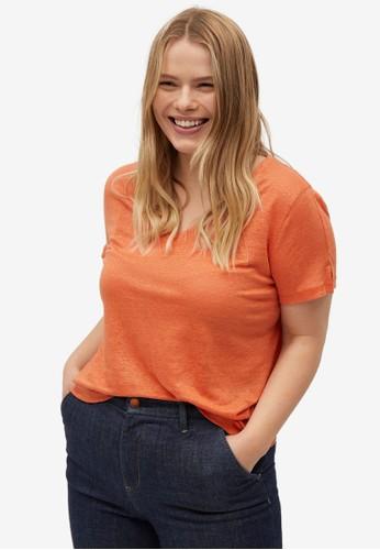 Violeta by MANGO orange Plus Size V-Neck Linen T-Shirt 7E11DAA95F7773GS_1