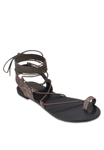 纏繞式踝帶平esprit china底涼鞋, 女鞋, 鞋