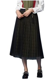 【ZALORA】 OUWEY歐薇 優雅草木蕾絲剪接褶裙